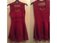 Brand New Never Worn - Red Mesh Cutout Dress - Size L