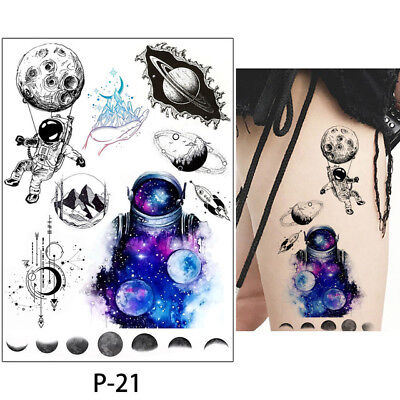 Temporary Tattoos Moon Space Astronaut Space Saturn SCIFI Halloween for adults (Temporary Tattoos For Halloween)
