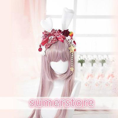 LOLITA Rose Pearl Bow Cute Plush Bunny Ears Hand-made Headband Red Strawberry - Red Bunny Ears