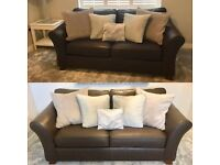 Set of Two Brown Leather Sofas - Marks And Spencer Abbey range