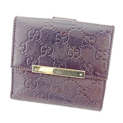 Auth GUCCI Double Sided Wallet GUCCI Shima unisexused T2903