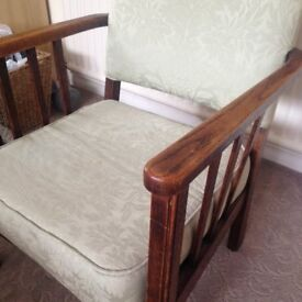 Lovely Low Level Solid Wood Arms and Frame padded fabric CHAIR, possibly antique