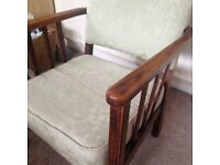 Low Level Solid Wood Arms and Frame padded fabric CHAIR