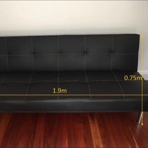 Leather black sofa bed Rooty Hill Blacktown Area Preview