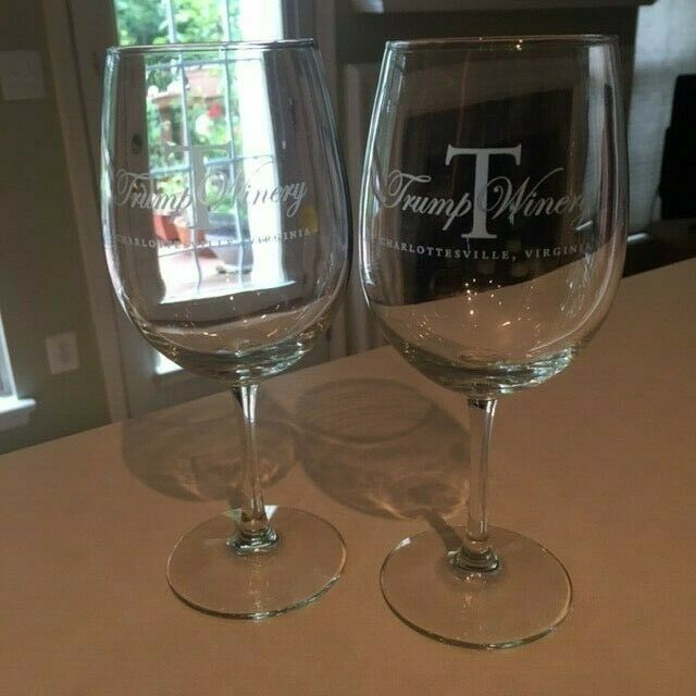 Pair Donald Trump Winery Charlottesville VA Wine Glass Goblets 12 Oz