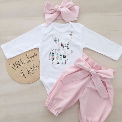 Bunny Girl Set (Newborn Infant Baby Girl Infant Bunny 3pcs Clothes Romper Tops Pants Outfits)