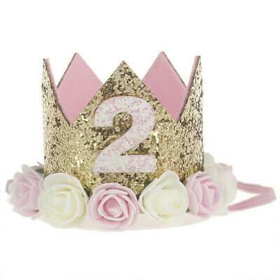Geburtstagskrone 2. Erster Geburtstag Krone rosa gold Blume Glitzer Mädchen Baby ()