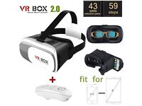 3D VIRTUAL REALITY VR BOX 2.0 GOOGLE CARDBOARD + BLUETOOTH REMOTE (DELIVERY FROM EBAY ONLY)