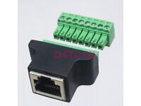 RJ45 to Screw Terminal Adaptor RJ45 Female to 8 Pin connector RJ45 splitter for CCTV DVR