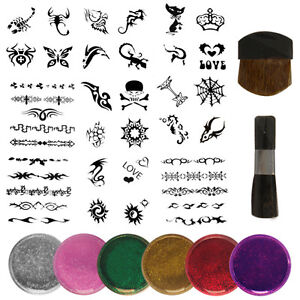 New-Glitter-Tattoo-Kit-boys-and-girls-value-100-stencils-6-glitters-2-brushes