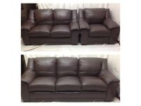 Brown leather 3/2/1 seater leather sofas excellent condition