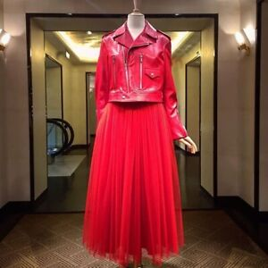 Christian Dior red leather jacket size XS