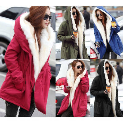 Fashion Womens Winter Warm Thick Fleece Faux Fur Coat Jacket Parka Hooded Trench