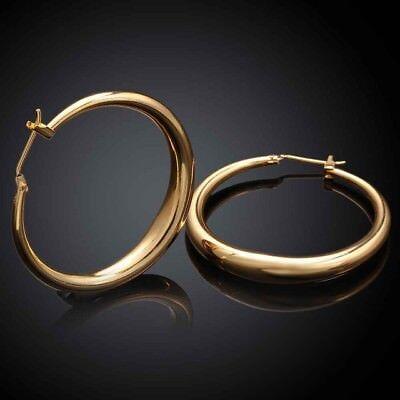 Boucles d'oreilles créoles, en cuivre finition or,  diam : 3,5 cm, neuves