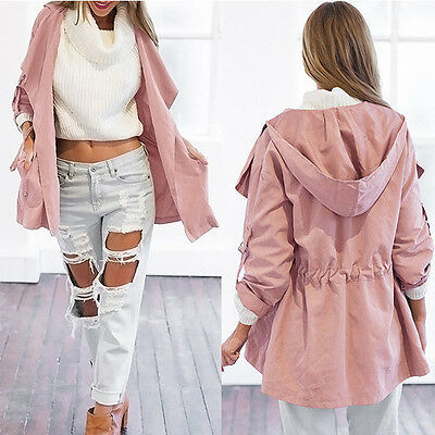 Pink Coat Trench Women Hooded Parka Long Jacket Outwear Windbreaker Lightweight