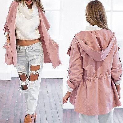 Pink Coat Trench Women Hooded Parka Long Jacket Outwear Windbreaker Lightweight