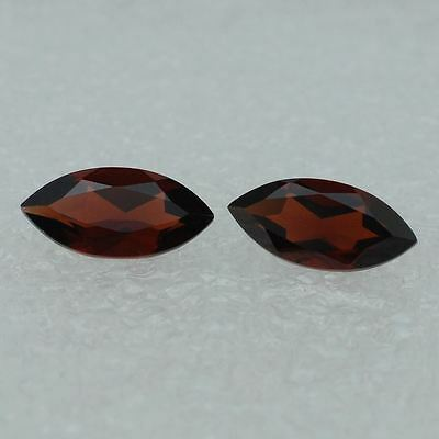 A PAIR OF 6x3mm MARQUISE-FACET DEEP-RED NATURAL MOZAMBIQUE GARNET GEMSTONES