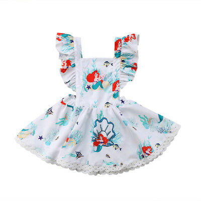 Little Mermaid Dress Toddler (NEW Disney Princess Ariel Little Mermaid Girls Sleeveless White Ruffle Dress)