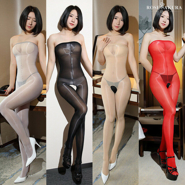 US Women 8D Oil Shiny Glossy Pantyhose Body Stockings Tights Crotchless Bodysuit