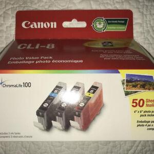 Canon CLI-8 Colour Ink Cartridges - Plus 50-Sheet Photo Value Pa
