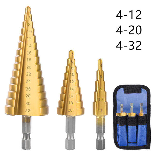 Stufenbohrer Kegelbohrer HSS-TIN 4-32 mm 15 Stufen Schälbohrer Senker