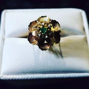 Vintage Flowerette Gold Ring 18k $449