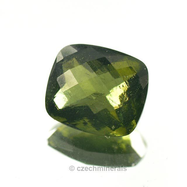 6.75cts rectangle checker top cut 12X14mm moldavite faceted cutted gem BRUS785