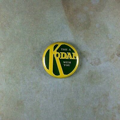 "Vintage Style Advertising Art  Pinback Button  1"" Kodak Camera Photography"