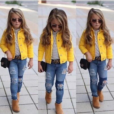 US Princess Kids Baby Girls Boys Denim Jacket Button Coat Outerwear Tops Clothes