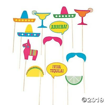 12 Fiesta Party Photo BOOTH Stick Props Cinco De Mayo Mexican Party - Photo Booth Wholesale