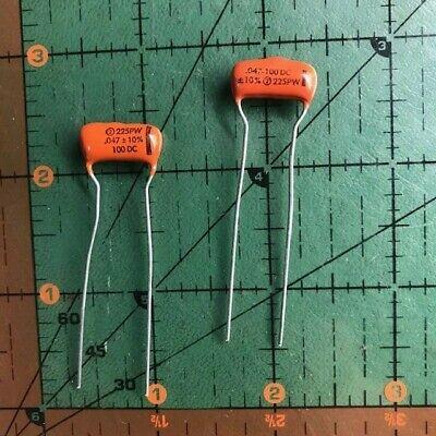 .047uf 100v Sprague Polyester Film Capacitor Orange Drop 225p47391wd3 Audio 2pcs
