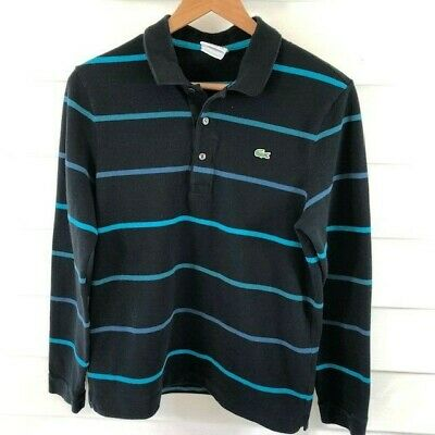 LACOSTE LONG SLEEVE Mens Slim Fit Collared Size 4 100% Cotton Collared Shirt