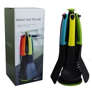 Kitchen utensil tool 6pcs silicone set with rotating stand for Kitchen tool set of 6pcs sj