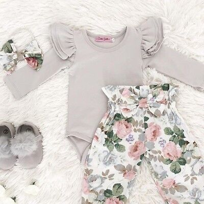 USA 3pcs Toddler Newborn Baby Girl Solid Romper Tops+Pants Outfits Set Clothes