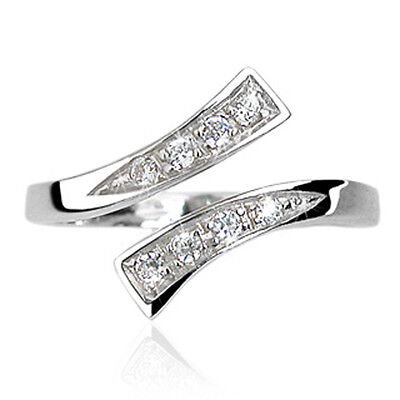 .925 Sterling Silver Solitaire Multi CZ Design Adjustable Fashion Toe Ring