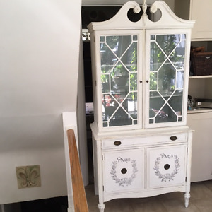 TALL  SHABBY CHIC CHINA CABINET