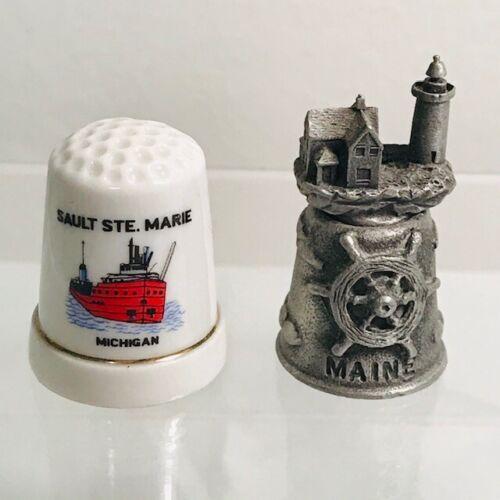 Vintage Pewter Maine Lighthouse Thimble & Porcelain Sault Ste. Marie Michigan
