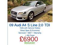 09 AUDI A4 S LINE 2.0 TDI (120) + FREE WARRANTY + AA + SERVICED