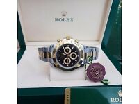 Rolex Daytona 116523 18Ct Yellow Gold, Black Dial Gold & Steel Bracelet Watch
