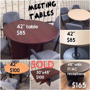 TRAINING & MEETING TABLES, FILES, CREDENZA DESKS, USED