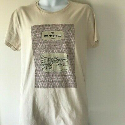 Etro Milano Graphic Beige T-Shirt Venezia Size L 100% Cotton S/S Made in -
