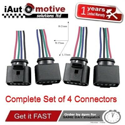 4x AUDI VW SEAT SKODA FORD IGNITION COIL PACK PLUG CONNECTOR A3 A4 TT GOLF LEON