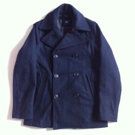 NEW GAP NAVY WOOL PEACAOT PEA COAT REEFER - SIZE S