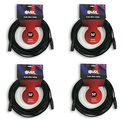 4 Pack VRL 3 pin 50 foot DMX shielded Light Lighting Cables XLR Male to Female