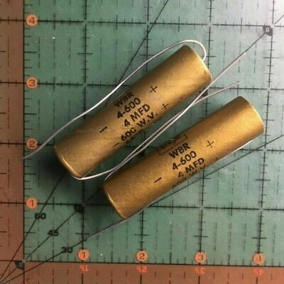 4uF 600v Cornell Dubilier Axial Capacitor WBR4-600 CDE Audio Hi Voltage AMP 2pc