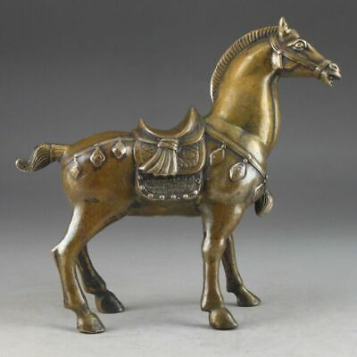 Antique Chinese Rare Collectible old Brass Handwork Fine horse Statue