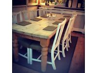 8 Farrow & ball painted, vintage revamped chairs in hardwearing green fabric with rustic table