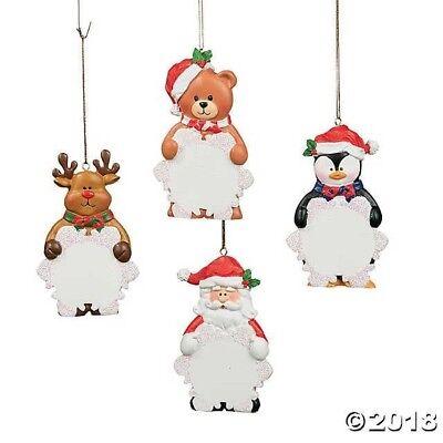 Christmas Snowflakes (4 PERSONALIZED Snowflake Ornaments Christmas Tree SANTA REINDEER PENGUIN)