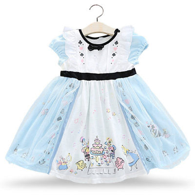 Girl's Alice in Wonderland Tea Party Tutu Party Casual Dress Long Sleeve  - Alice In Wonderland Tutu
