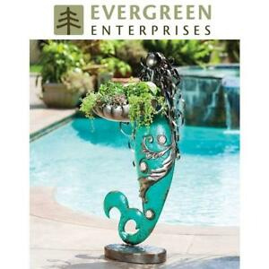 NEW METAL MERMAID PLANTER STATUE 8TAM167 187099237 EVERGREEN ENTERPRISES